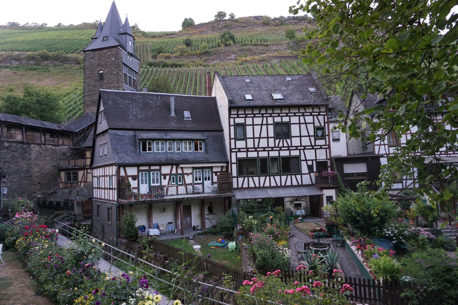 Fachwerkhäuser und bunte Gärten in Bacharach